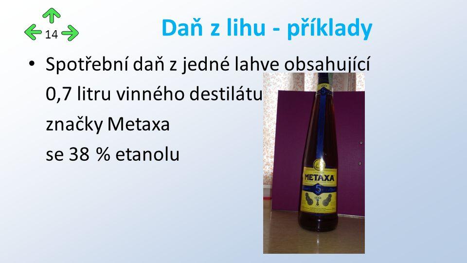 Spotřební daň z jedné lahve obsahující 0,7 litru vinného destilátu značky Metaxa se 38 % etanolu Daň z lihu - příklady 14