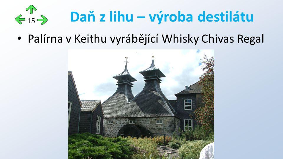 Palírna v Keithu vyrábějící Whisky Chivas Regal Daň z lihu – výroba destilátu 15