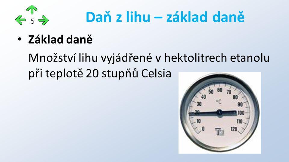 Základ daně Množství lihu vyjádřené v hektolitrech etanolu při teplotě 20 stupňů Celsia Daň z lihu – základ daně 5