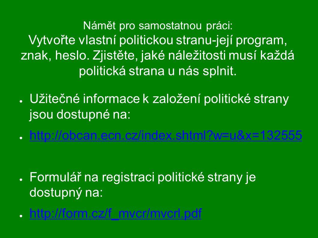 Námět pro samostatnou práci: Vytvořte vlastní politickou stranu-její program, znak, heslo. Zjistěte, jaké náležitosti musí každá politická strana u ná
