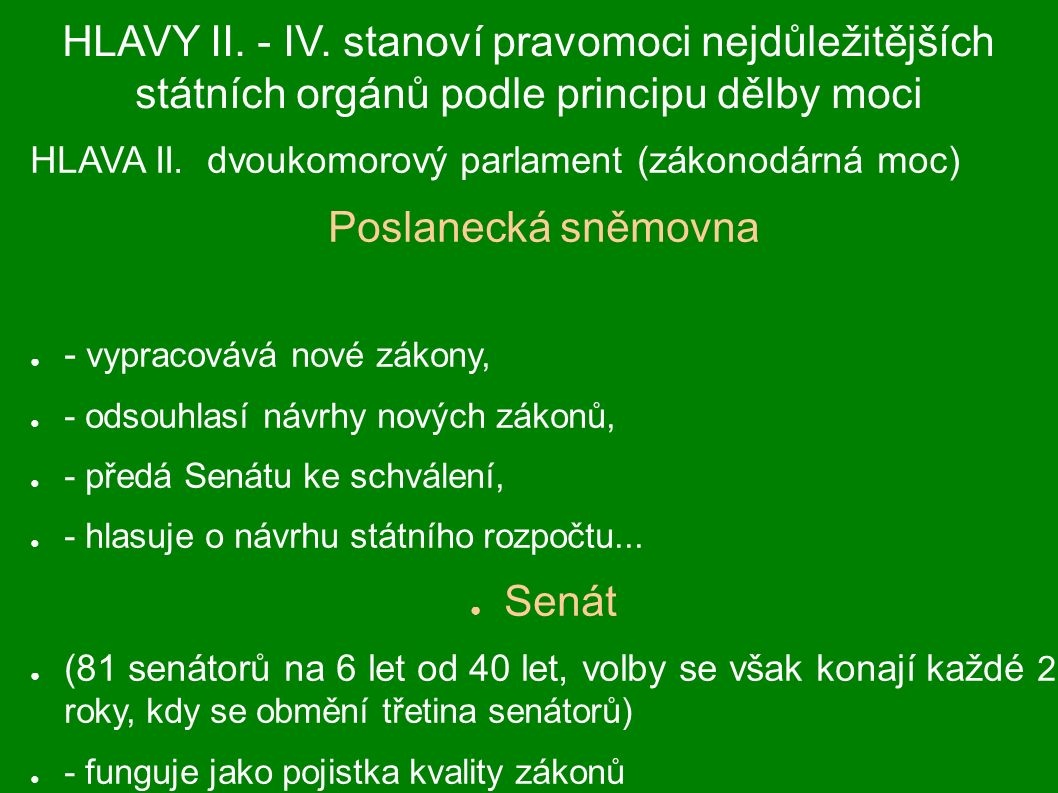 HLAVY II. - IV. stanoví pravomoci nejdůležitějších státních orgánů podle principu dělby moci HLAVA II. dvoukomorový parlament (zákonodárná moc) Poslan