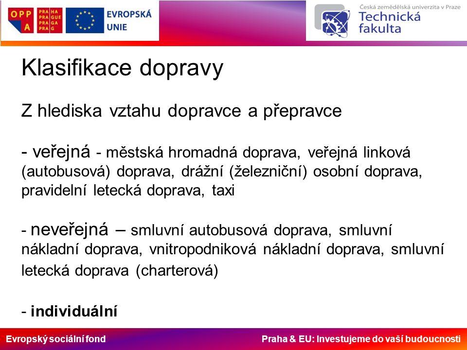 Evropský sociální fond Praha & EU: Investujeme do vaší budoucnosti Klasifikace dopravy Z hlediska vztahu dopravce a přepravce - veřejná - městská hrom