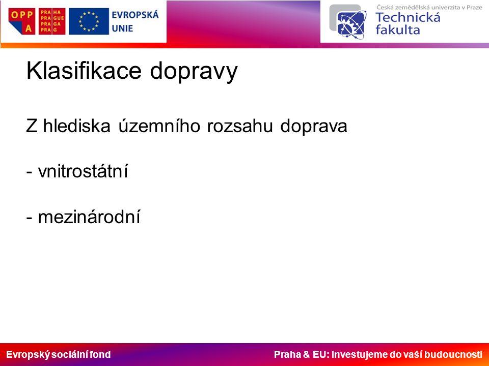 Evropský sociální fond Praha & EU: Investujeme do vaší budoucnosti Klasifikace dopravy Z hlediska územního rozsahu doprava - vnitrostátní - mezinárodní