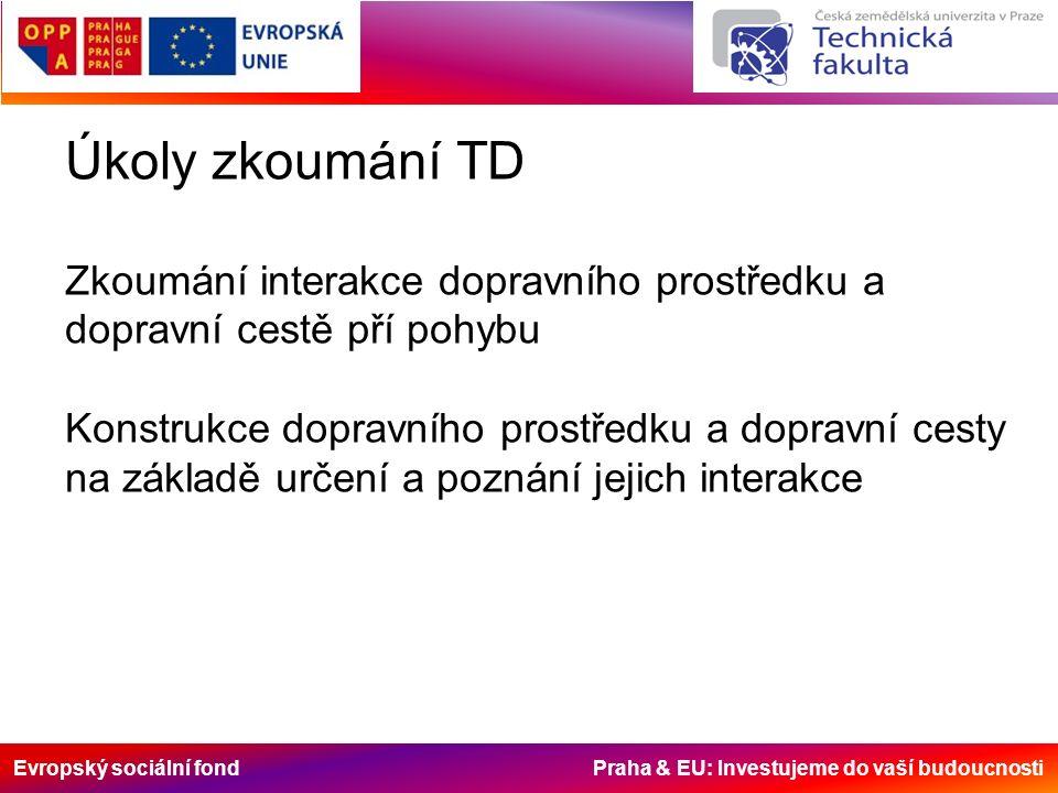 Evropský sociální fond Praha & EU: Investujeme do vaší budoucnosti Úkoly zkoumání TD Zkoumání interakce dopravního prostředku a dopravní cestě pří poh