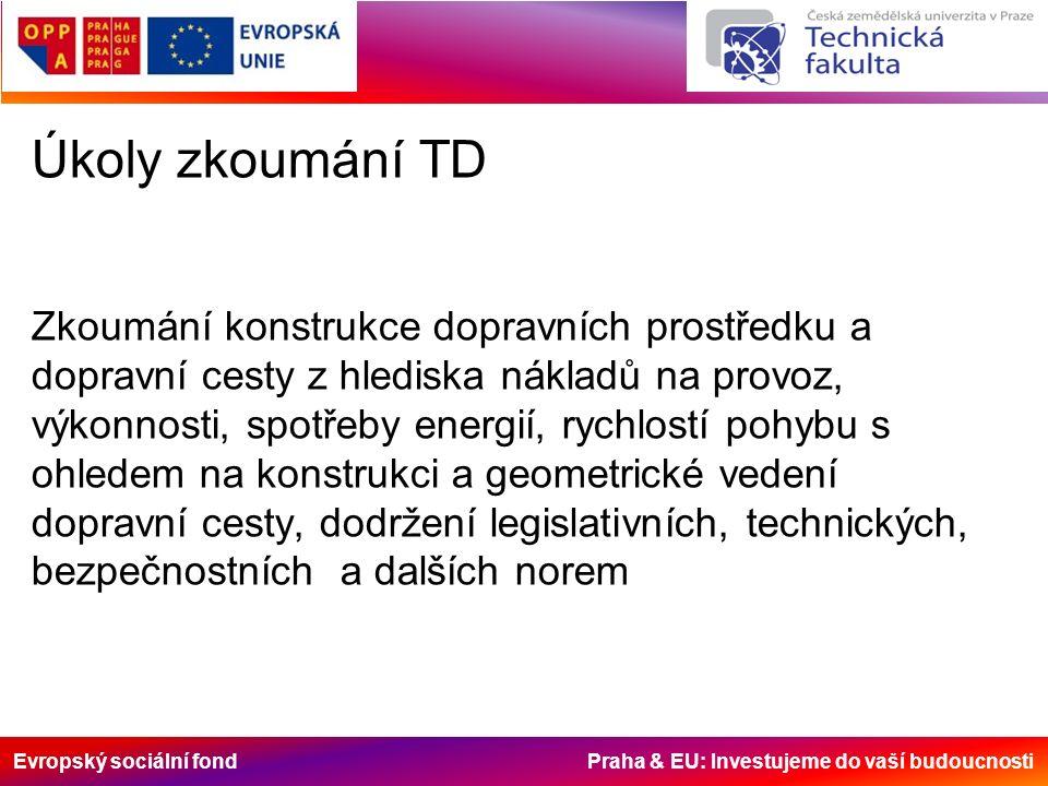 Evropský sociální fond Praha & EU: Investujeme do vaší budoucnosti Úkoly zkoumání TD Zkoumání konstrukce dopravních prostředku a dopravní cesty z hled