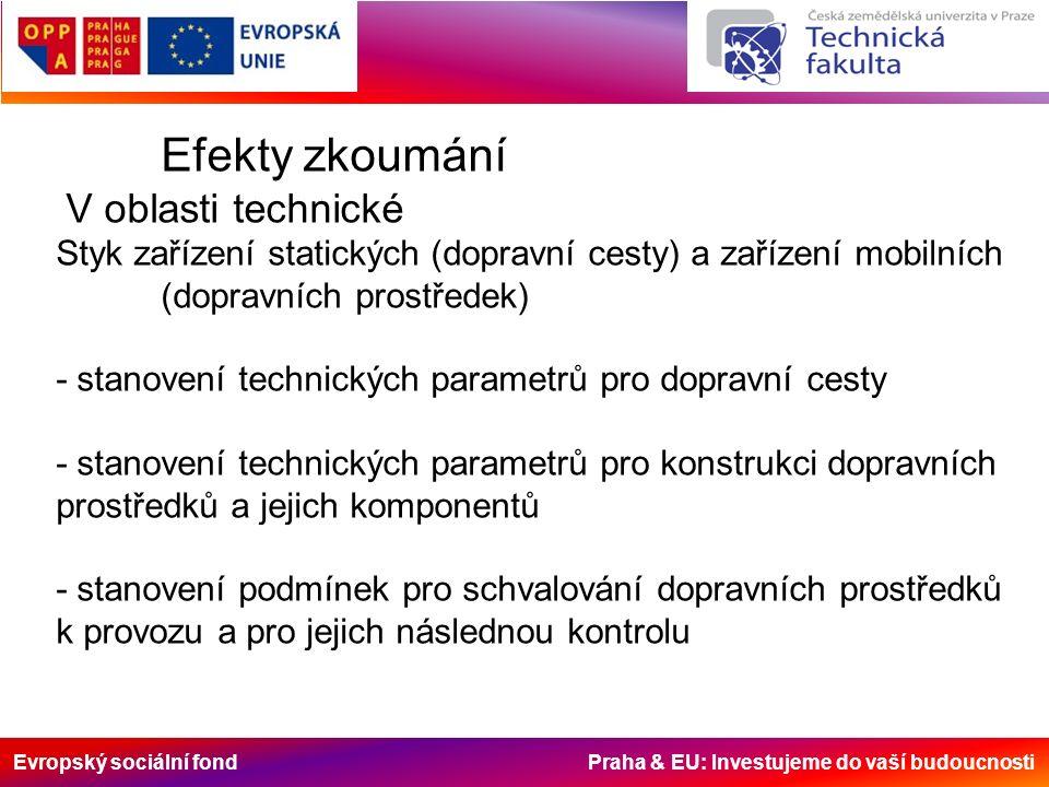 Evropský sociální fond Praha & EU: Investujeme do vaší budoucnosti Efekty zkoumání V oblasti technické Styk zařízení statických (dopravní cesty) a zař