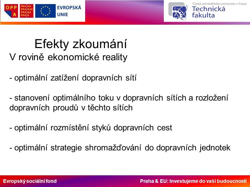 Evropský sociální fond Praha & EU: Investujeme do vaší budoucnosti Efekty zkoumání V rovině ekonomické reality - optimální zatížení dopravních sítí -