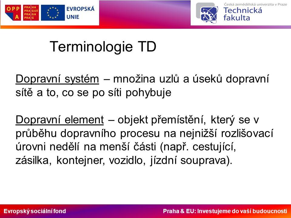 Evropský sociální fond Praha & EU: Investujeme do vaší budoucnosti Terminologie TD Dopravní systém – množina uzlů a úseků dopravní sítě a to, co se po síti pohybuje Dopravní element – objekt přemístění, který se v průběhu dopravního procesu na nejnižší rozlišovací úrovni nedělí na menší části (např.