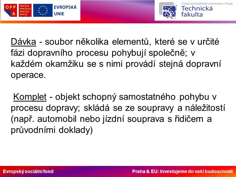 Evropský sociální fond Praha & EU: Investujeme do vaší budoucnosti Dávka - soubor několika elementů, které se v určité fázi dopravního procesu pohybují společně; v každém okamžiku se s nimi provádí stejná dopravní operace.