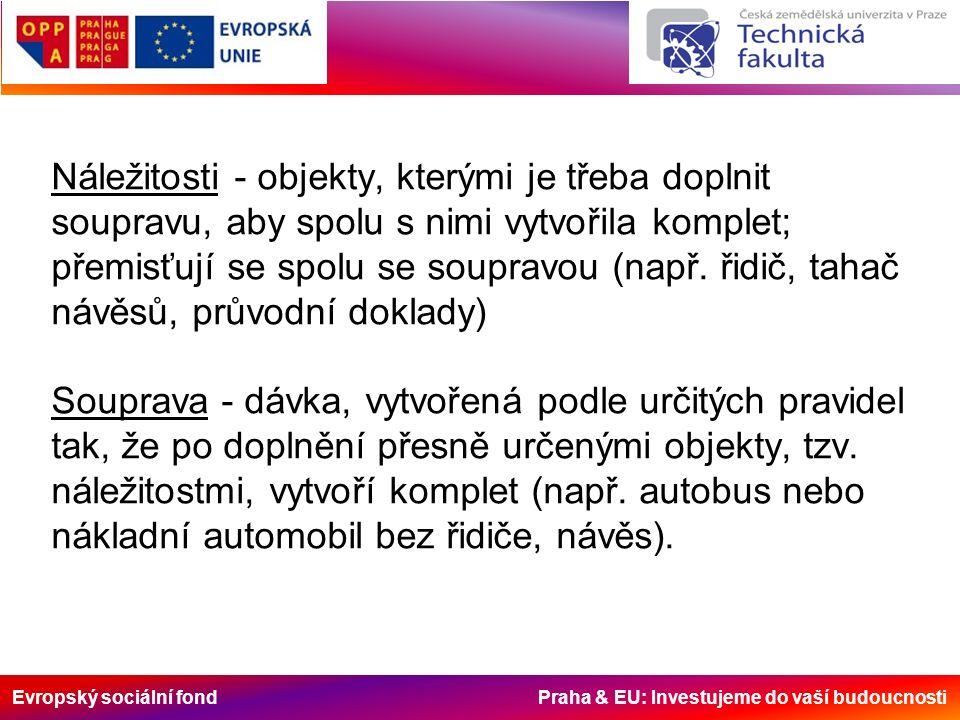 Evropský sociální fond Praha & EU: Investujeme do vaší budoucnosti Náležitosti - objekty, kterými je třeba doplnit soupravu, aby spolu s nimi vytvořil