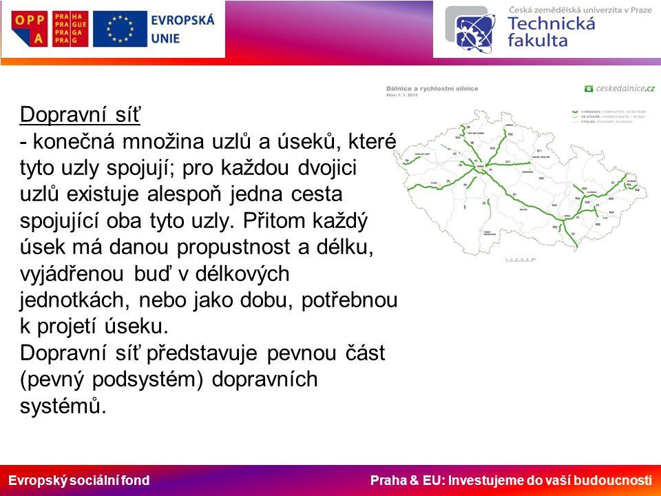 Evropský sociální fond Praha & EU: Investujeme do vaší budoucnosti Dopravní síť - konečná množina uzlů a úseků, které tyto uzly spojují; pro každou dvojici uzlů existuje alespoň jedna cesta spojující oba tyto uzly.