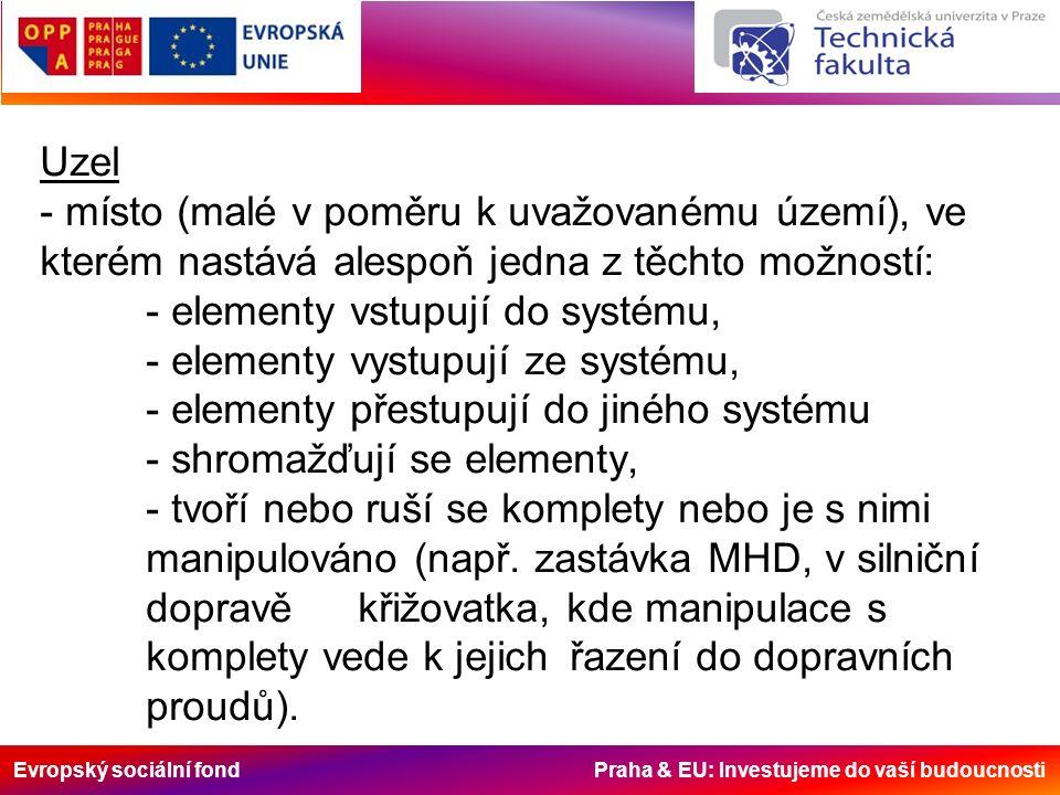Evropský sociální fond Praha & EU: Investujeme do vaší budoucnosti Uzel - místo (malé v poměru k uvažovanému území), ve kterém nastává alespoň jedna z těchto možností: - elementy vstupují do systému, - elementy vystupují ze systému, - elementy přestupují do jiného systému - shromažďují se elementy, - tvoří nebo ruší se komplety nebo je s nimi manipulováno (např.