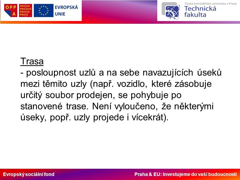 Evropský sociální fond Praha & EU: Investujeme do vaší budoucnosti Trasa - posloupnost uzlů a na sebe navazujících úseků mezi těmito uzly (např. vozid