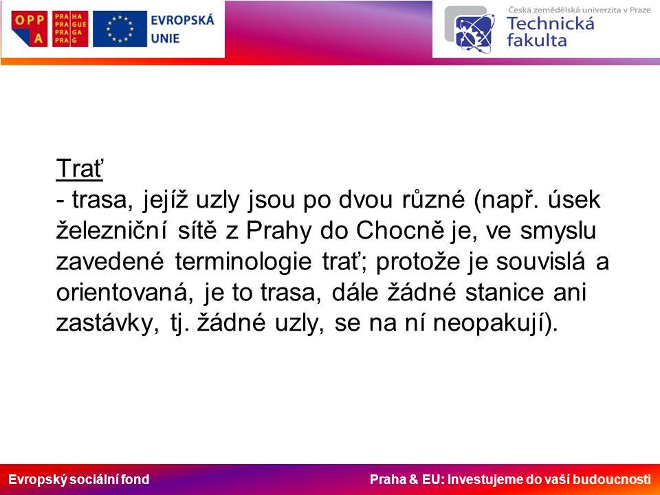 Evropský sociální fond Praha & EU: Investujeme do vaší budoucnosti Trať - trasa, jejíž uzly jsou po dvou různé (např. úsek železniční sítě z Prahy do