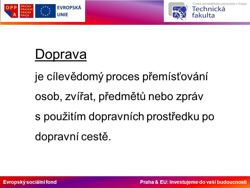 Evropský sociální fond Praha & EU: Investujeme do vaší budoucnosti Dopravní prostředek – pohyblivá složka Rozdělení podle dopravních prostředků: Pěší Cyklistická Automobilová Autobusová Tramvajová Trolejbusová Vlaková Lodní Letadlová
