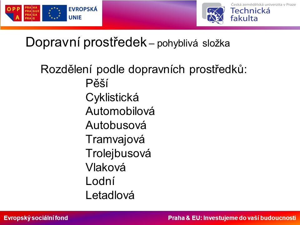 Evropský sociální fond Praha & EU: Investujeme do vaší budoucnosti Dopravní prostředek – pohyblivá složka Rozdělení podle dopravních prostředků: Pěší