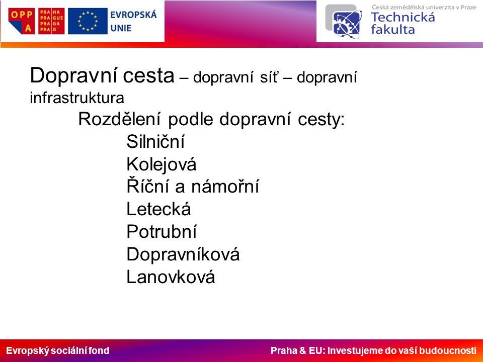 Evropský sociální fond Praha & EU: Investujeme do vaší budoucnosti Dopravní cesta – dopravní síť – dopravní infrastruktura Rozdělení podle dopravní ce