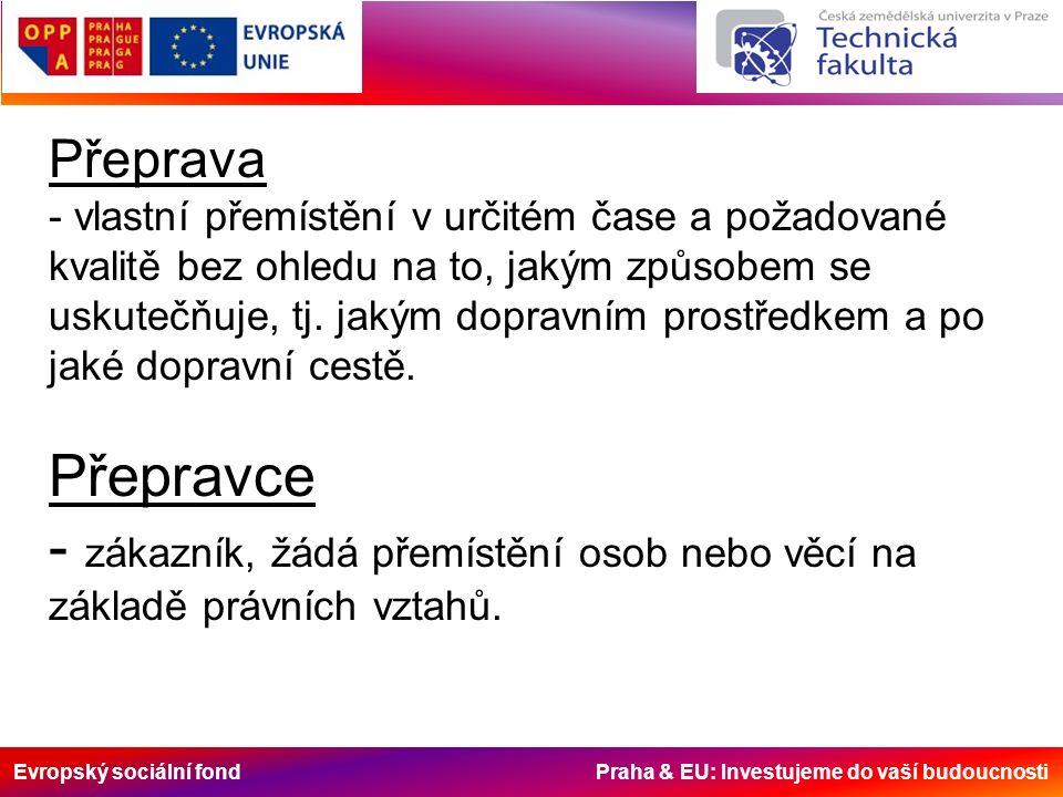 Evropský sociální fond Praha & EU: Investujeme do vaší budoucnosti Hlavní úkoly dopravy - Přeprava průmyslových a zemědělských výrobků a surovin pro jejich výrobu - Pokračování výrobního procesu v oblasti oběhu zboží – vytváření podmínek pro upotřebení užitných hodnot výrobků - Přeprava osob v návaznosti na místo bydliště, pracoviště, rekreace, zábavy