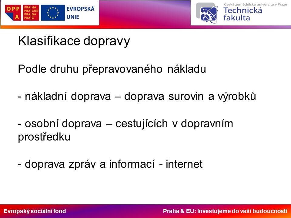 Evropský sociální fond Praha & EU: Investujeme do vaší budoucnosti Klasifikace dopravy Podle prostředí - pozemní - silniční, železniční, dopravníková, lanovková - podzemní – potrubní, pozemní dráha - vodní - říční a námořní - vzdušná