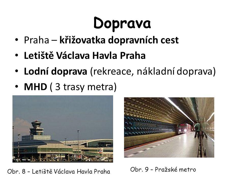 Doprava Praha – křižovatka dopravních cest Letiště Václava Havla Praha Lodní doprava (rekreace, nákladní doprava) MHD ( 3 trasy metra) Obr.