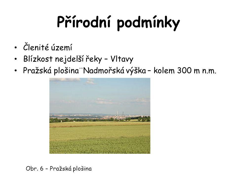 Přírodní podmínky Členité území Blízkost nejdelší řeky – Vltavy Pražská plošina¨Nadmořská výška – kolem 300 m n.m.