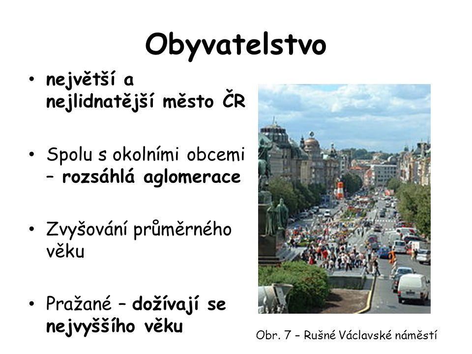 Obyvatelstvo největší a nejlidnatější město ČR Spolu s okolními obcemi – rozsáhlá aglomerace Zvyšování průměrného věku Pražané – dožívají se nejvyššího věku Obr.