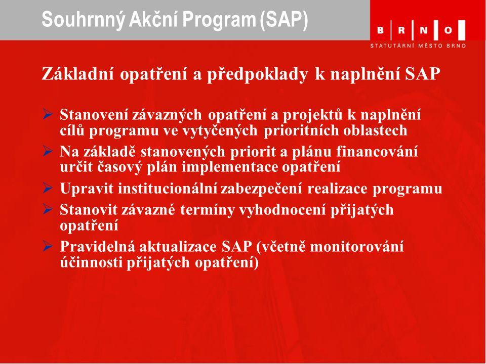 Souhrnný Akční Program (SAP) Základní opatření a předpoklady k naplnění SAP  Stanovení závazných opatření a projektů k naplnění cílů programu ve vytyčených prioritních oblastech  Na základě stanovených priorit a plánu financování určit časový plán implementace opatření  Upravit institucionální zabezpečení realizace programu  Stanovit závazné termíny vyhodnocení přijatých opatření  Pravidelná aktualizace SAP (včetně monitorování účinnosti přijatých opatření)