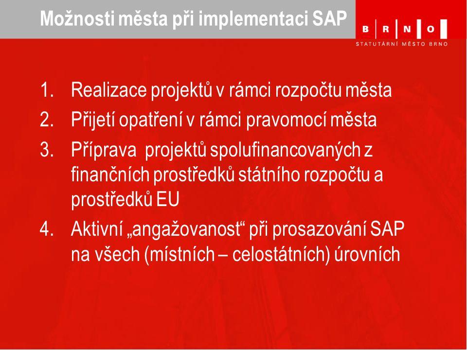 """Možnosti města při implementaci SAP 1.Realizace projektů v rámci rozpočtu města 2.Přijetí opatření v rámci pravomocí města 3.Příprava projektů spolufinancovaných z finančních prostředků státního rozpočtu a prostředků EU 4.Aktivní """"angažovanost při prosazování SAP na všech (místních – celostátních) úrovních"""