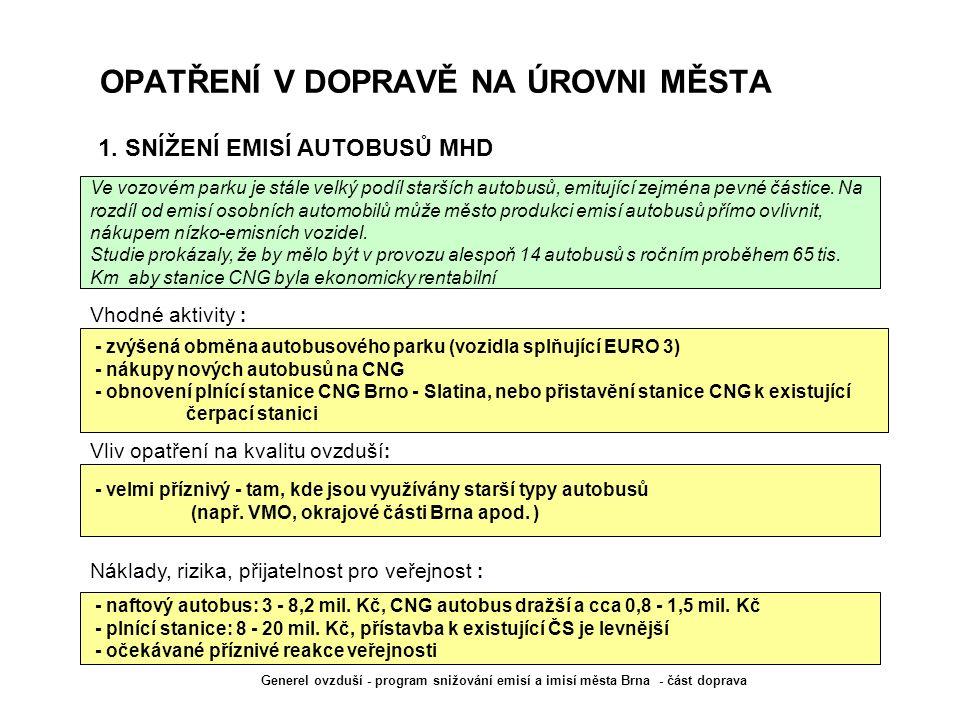 OPATŘENÍ V DOPRAVĚ NA ÚROVNI MĚSTA - zvýšená obměna autobusového parku (vozidla splňující EURO 3) - nákupy nových autobusů na CNG - obnovení plnící st