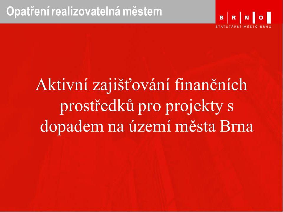 Opatření realizovatelná městem Aktivní zajišťování finančních prostředků pro projekty s dopadem na území města Brna