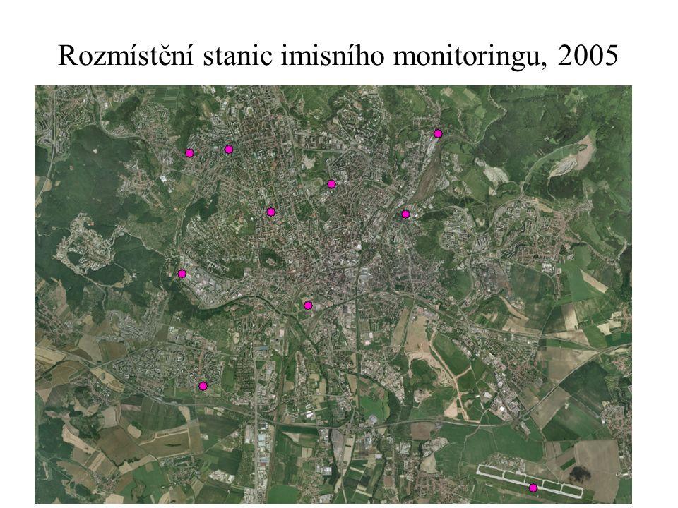 Rozmístění stanic imisního monitoringu, 2005