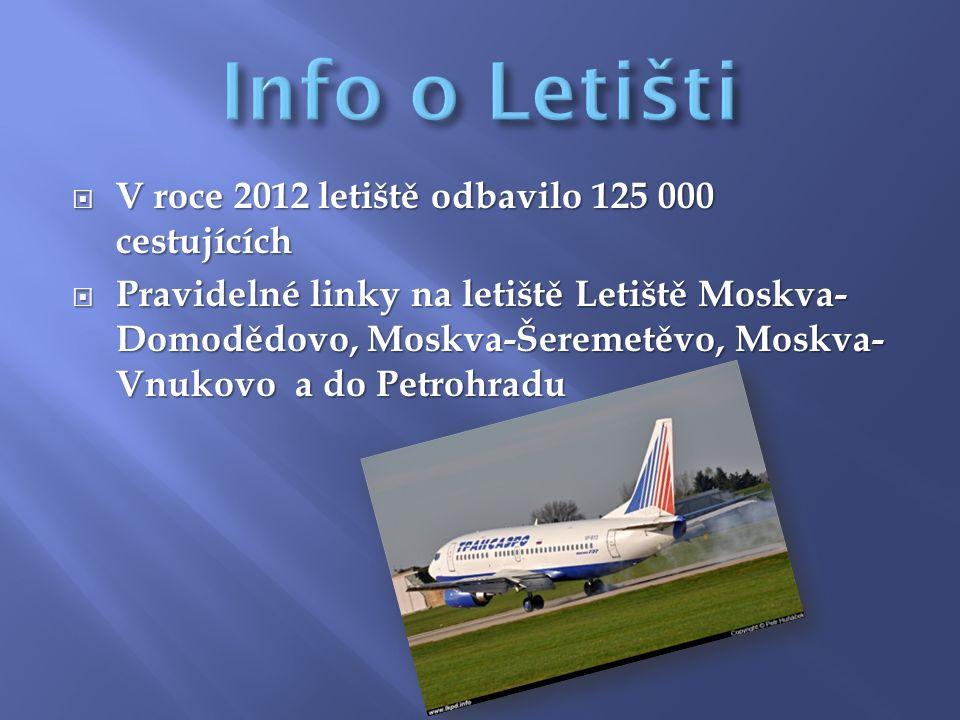  V roce 2012 letiště odbavilo 125 000 cestujících  Pravidelné linky na letiště Letiště Moskva- Domodědovo, Moskva-Šeremetěvo, Moskva- Vnukovo a do Petrohradu
