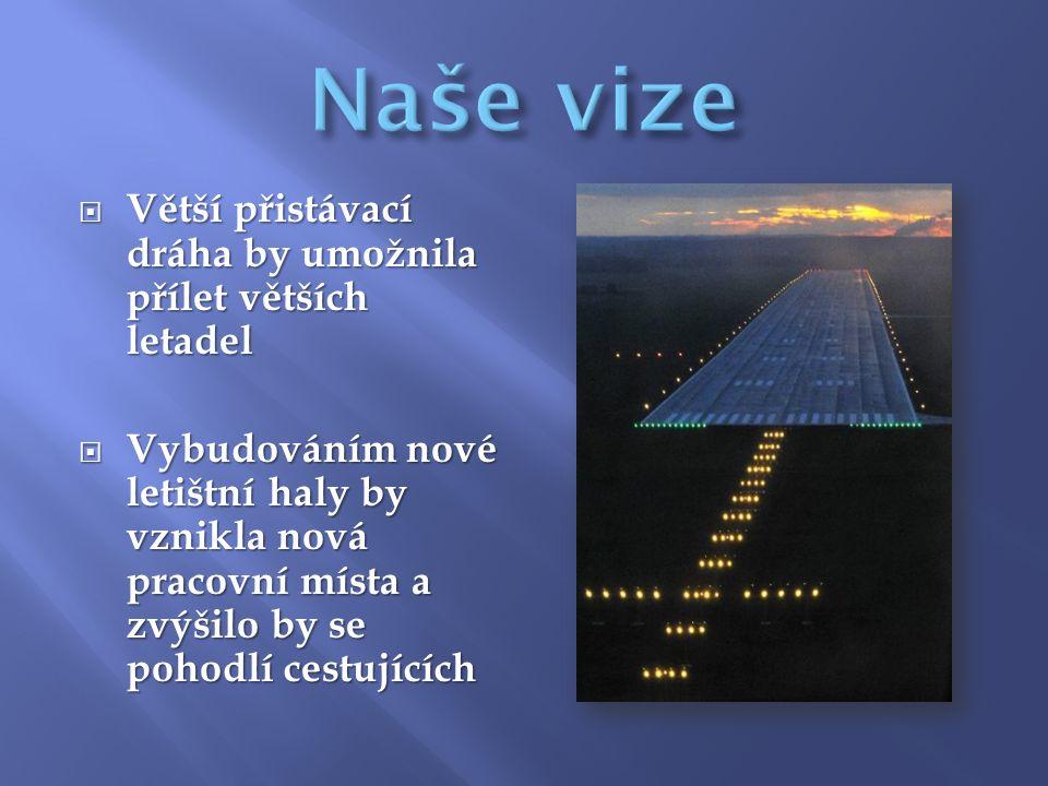  Větší přistávací dráha by umožnila přílet větších letadel  Vybudováním nové letištní haly by vznikla nová pracovní místa a zvýšilo by se pohodlí cestujících