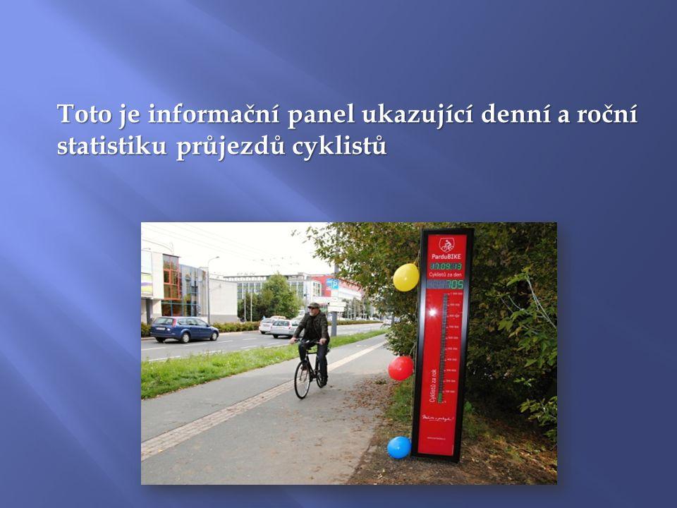 Toto je informační panel ukazující denní a roční statistiku průjezdů cyklistů