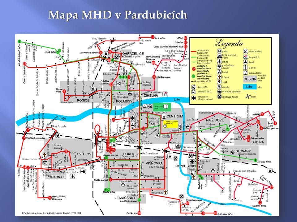 Mapa MHD v Pardubicích