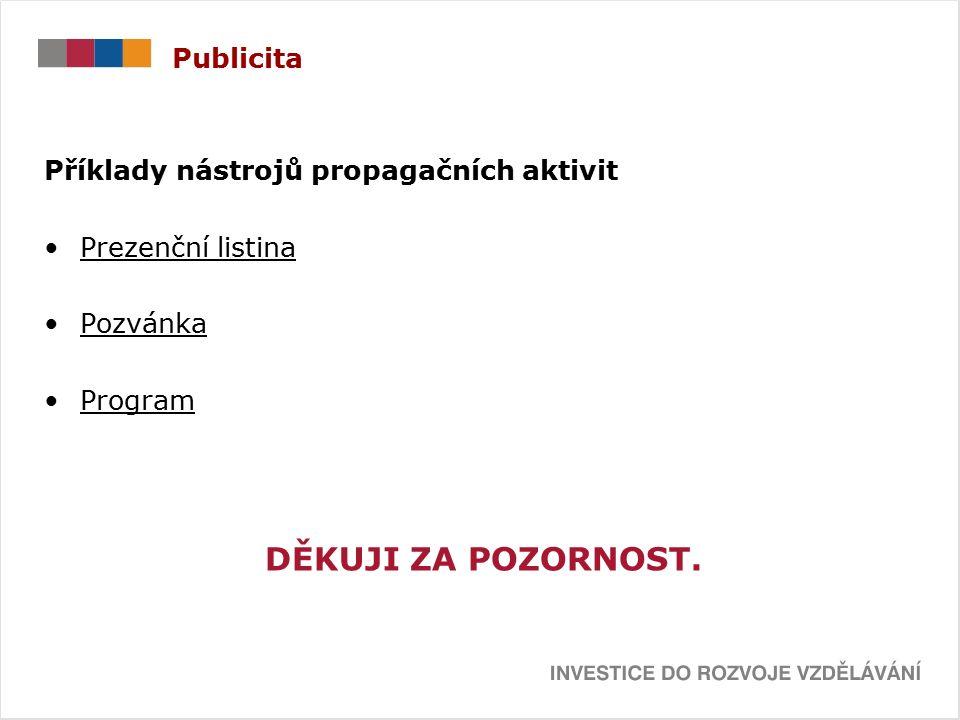 Publicita Příklady nástrojů propagačních aktivit Prezenční listina Pozvánka Program DĚKUJI ZA POZORNOST.