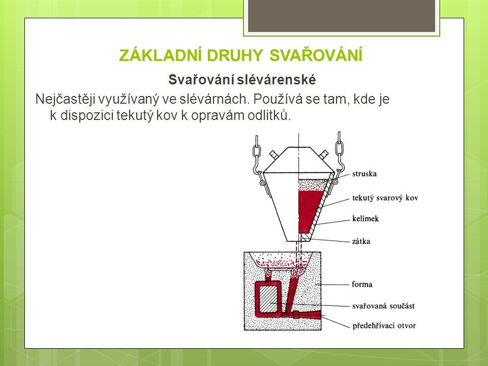 ZÁKLADNÍ DRUHY SVAŘOVÁNÍ Svařování slévárenské Nejčastěji využívaný ve slévárnách. Používá se tam, kde je k dispozici tekutý kov k opravám odlitků.