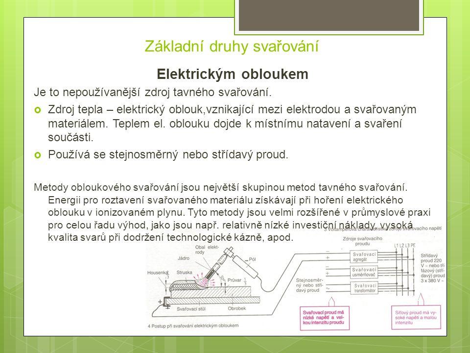 Základní druhy svařování Elektrickým obloukem Je to nepoužívanější zdroj tavného svařování.  Zdroj tepla – elektrický oblouk,vznikající mezi elektrod