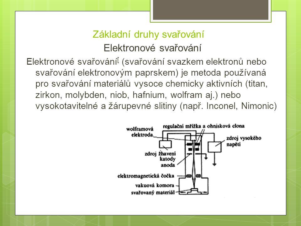 Základní druhy svařování Elektronové svařování Elektronové svařování [ (svařování svazkem elektronů nebo svařování elektronovým paprskem) je metoda po