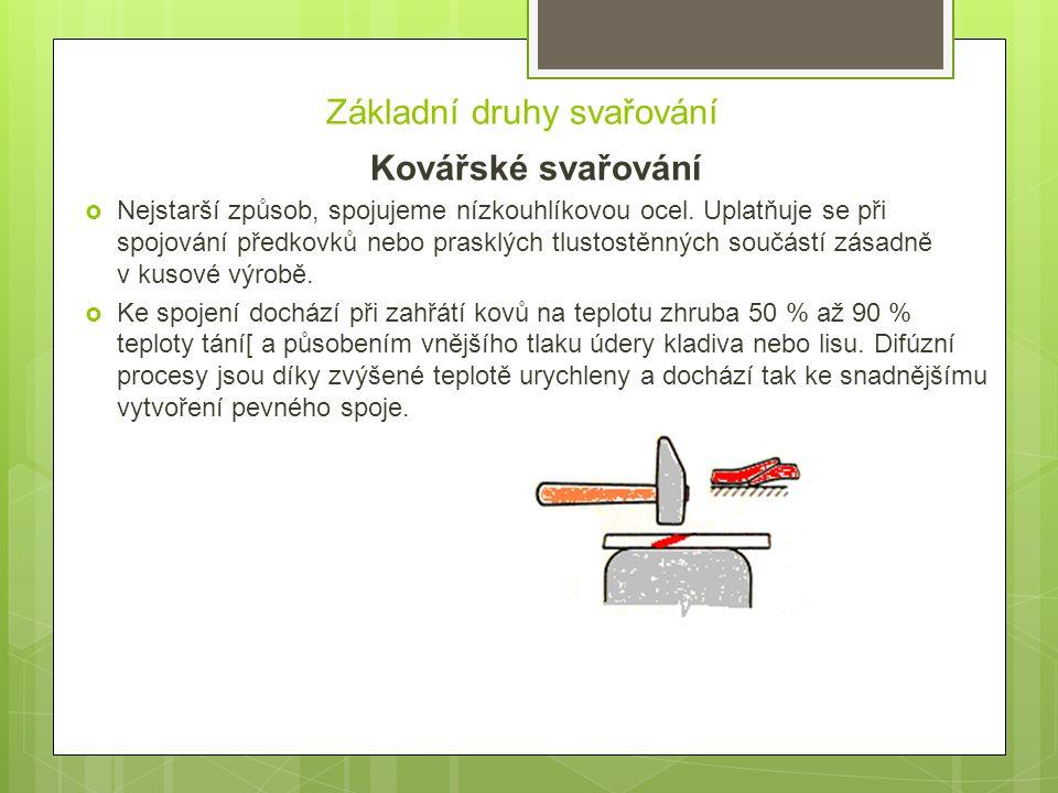 Základní druhy svařování Kovářské svařování  Nejstarší způsob, spojujeme nízkouhlíkovou ocel. Uplatňuje se při spojování předkovků nebo prasklých tlu
