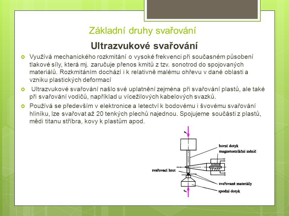 Základní druhy svařování Ultrazvukové svařování  Využívá mechanického rozkmitání o vysoké frekvenci při současném působení tlakové síly, která mj. za