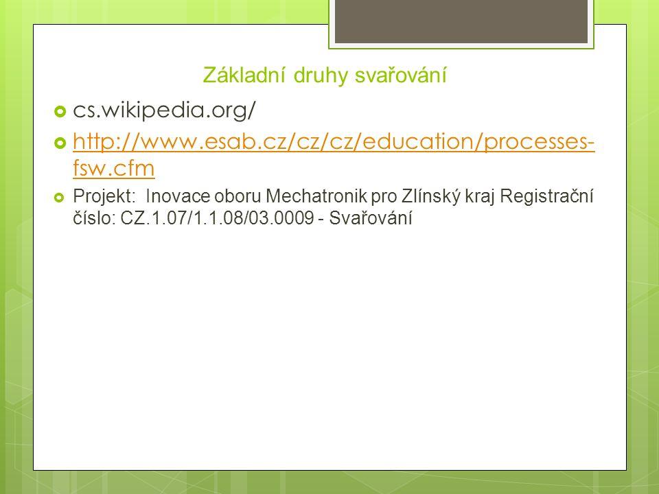 Základní druhy svařování  cs.wikipedia.org/  http://www.esab.cz/cz/cz/education/processes- fsw.cfm http://www.esab.cz/cz/cz/education/processes- fsw.cfm  Projekt: Inovace oboru Mechatronik pro Zlínský kraj Registrační číslo: CZ.1.07/1.1.08/03.0009 - Svařování