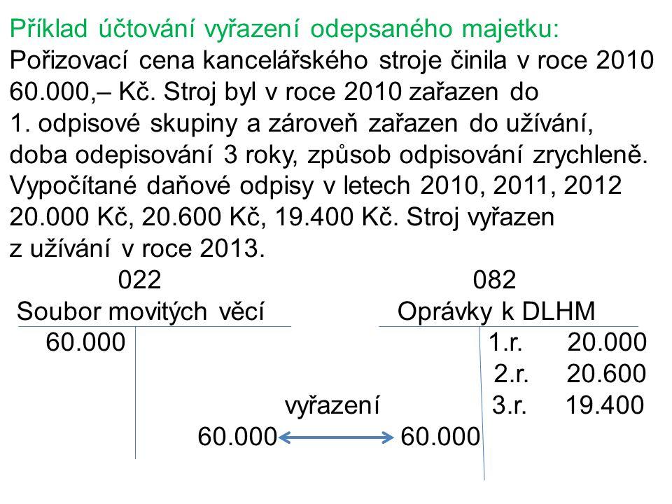 Příklad účtování vyřazení odepsaného majetku: Pořizovací cena kancelářského stroje činila v roce 2010 60.000,– Kč. Stroj byl v roce 2010 zařazen do 1.