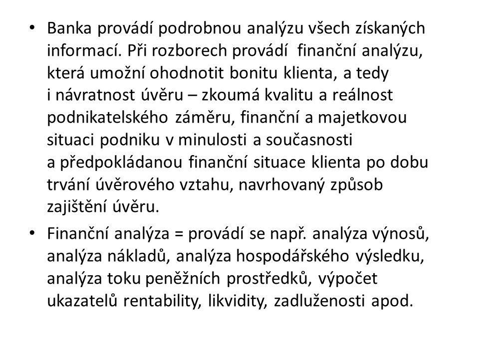 Banka provádí podrobnou analýzu všech získaných informací.