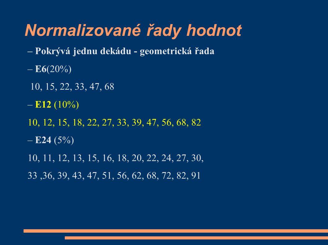 Normalizované řady hodnot – Pokrývá jednu dekádu - geometrická řada – E6(20%) 10, 15, 22, 33, 47, 68 – E12 (10%) 10, 12, 15, 18, 22, 27, 33, 39, 47, 56, 68, 82 – E24 (5%) 10, 11, 12, 13, 15, 16, 18, 20, 22, 24, 27, 30, 33,36, 39, 43, 47, 51, 56, 62, 68, 72, 82, 91