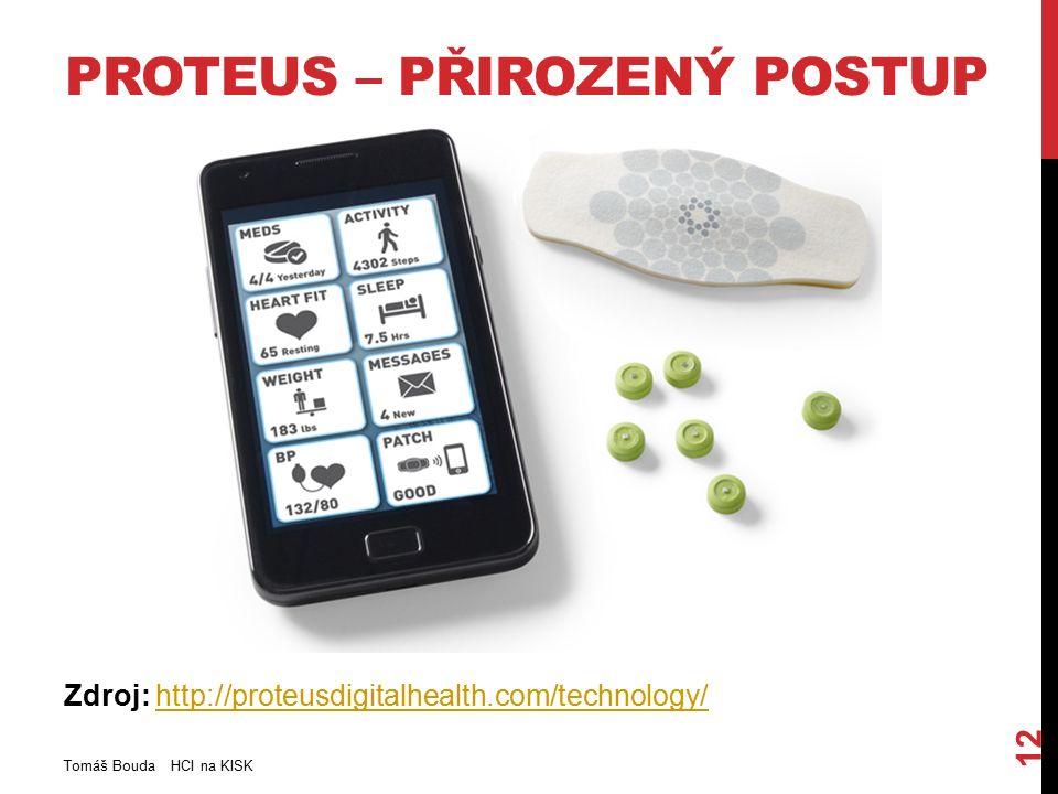 PROTEUS – PŘIROZENÝ POSTUP Zdroj: http://proteusdigitalhealth.com/technology/http://proteusdigitalhealth.com/technology/ Tomáš Bouda HCI na KISK 12