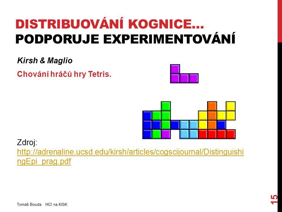 DISTRIBUOVÁNÍ KOGNICE… PODPORUJE EXPERIMENTOVÁNÍ Kirsh & Maglio Chování hráčů hry Tetris.