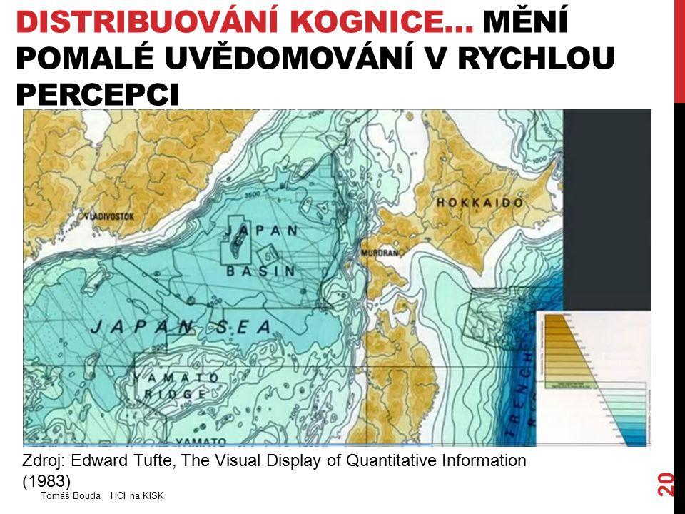 DISTRIBUOVÁNÍ KOGNICE… MĚNÍ POMALÉ UVĚDOMOVÁNÍ V RYCHLOU PERCEPCI Tomáš Bouda HCI na KISK 20 Zdroj: Edward Tufte, The Visual Display of Quantitative Information (1983)