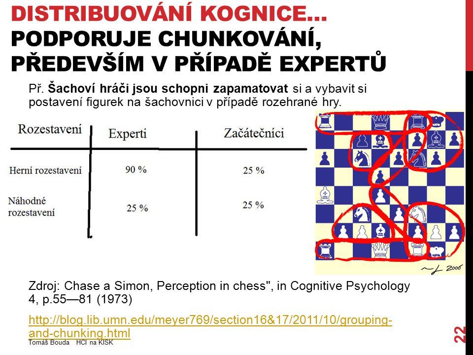 DISTRIBUOVÁNÍ KOGNICE… PODPORUJE CHUNKOVÁNÍ, PŘEDEVŠÍM V PŘÍPADĚ EXPERTŮ Tomáš Bouda HCI na KISK 22 Př. Šachoví hráči jsou schopni zapamatovat si a vy
