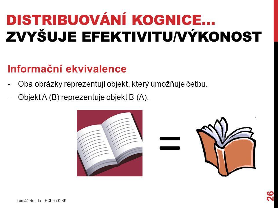 DISTRIBUOVÁNÍ KOGNICE… ZVYŠUJE EFEKTIVITU/VÝKONOST Tomáš Bouda HCI na KISK 26 Informační ekvivalence -Oba obrázky reprezentují objekt, který umožňuje četbu.
